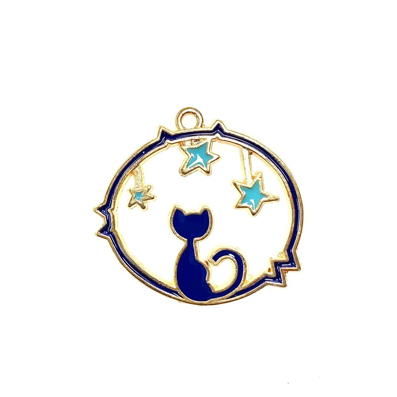 Bead World Cat and Stars Enamel -  25mm x 23mm 3pcs.