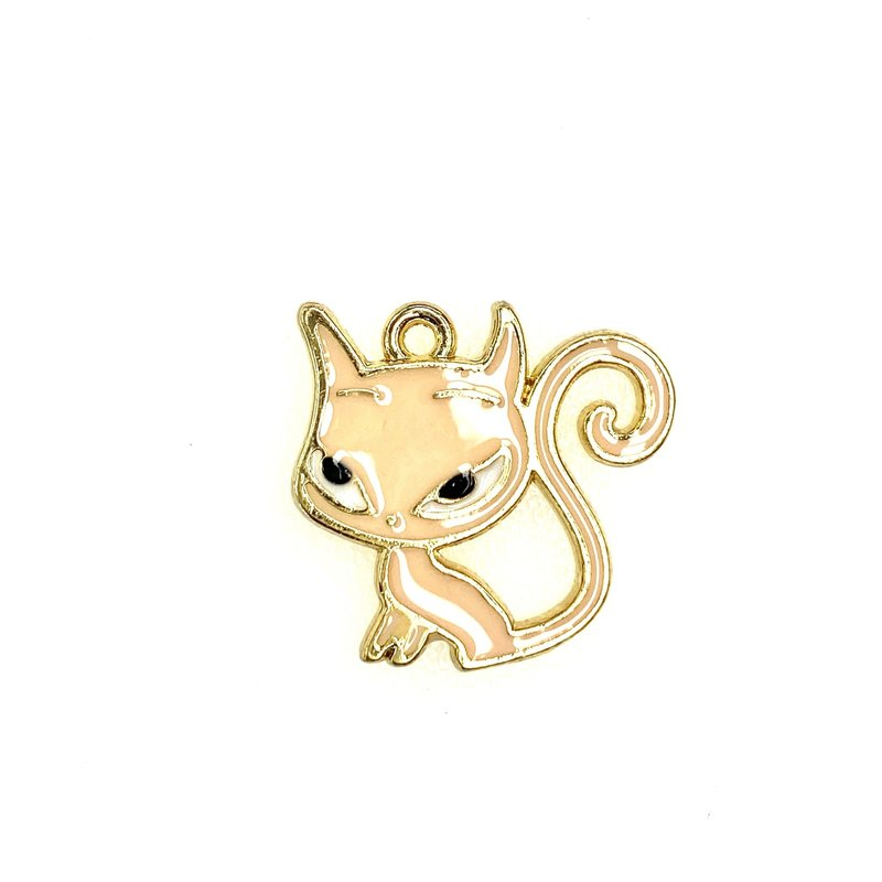 Bead World Cat With Long Tail Pink Enamel -  20mm x 20mm 3pcs.