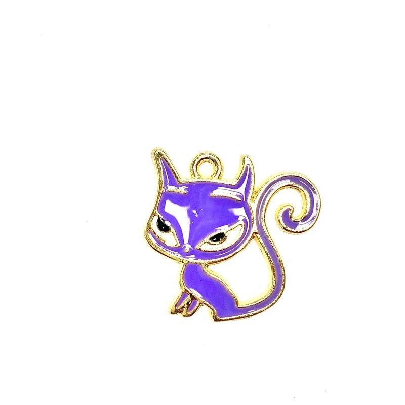 Bead World Cat With Long Tail Purple Enamel -  20mm x 20mm 3pcs.