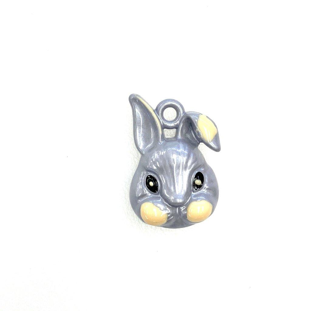 Bead World Rabbit Head- Grey  Enamel 15mm x 22mm 3pcs.