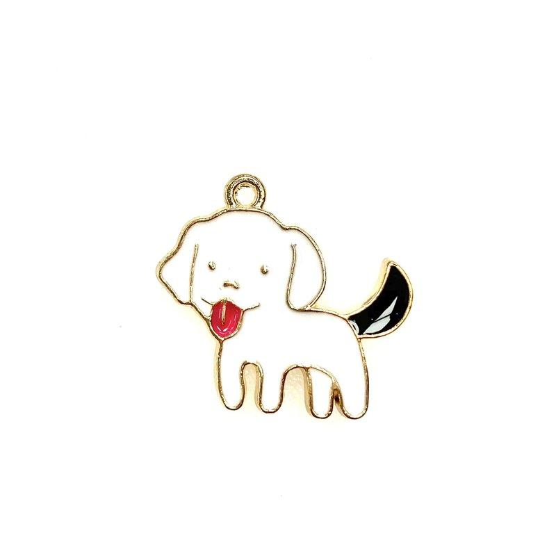 Bead World Dog White with Black Tail Enamel -  22mm x 22mm 3pcs.