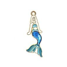 Bead World Mermaid- Sparkle Blue Enamel -  13mm x 32mm 3pcs.