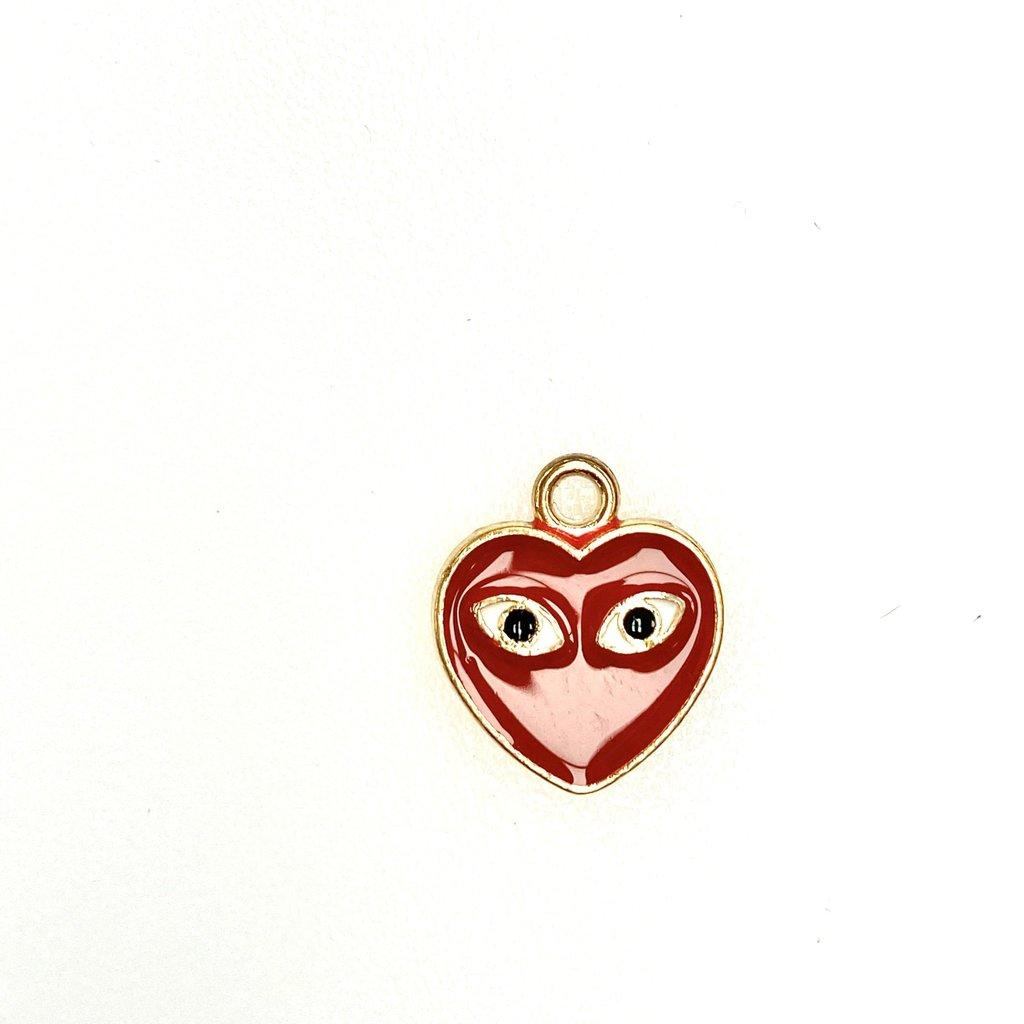 Bead World Heart With Eyes / Comme De Garcon Enamel -  14mm x 15mm 3pcs.