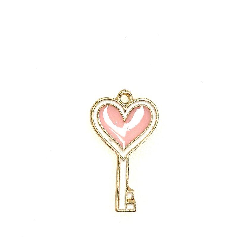 Bead World Heart Key Enamel -  13mm x 22mm 3pcs.