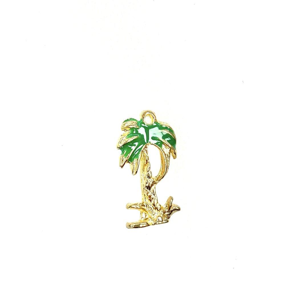 Bead World Palm Tree  Enamel/Gold  -  10mm x 18mm 3pcs.