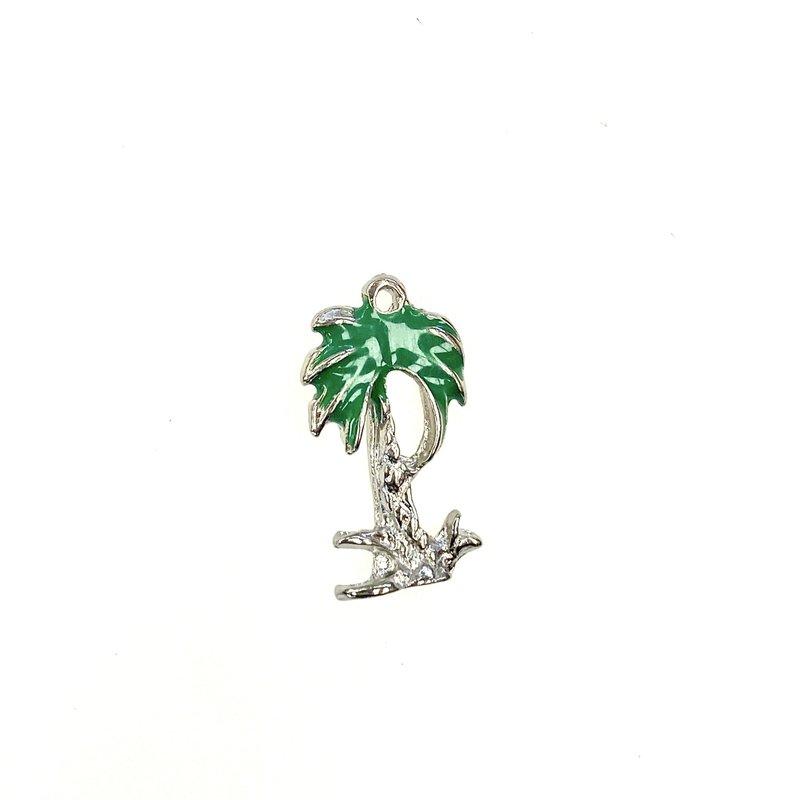 Bead World Palm Tree  Enamel/Silver -  10mm x 18mm 3pcs.