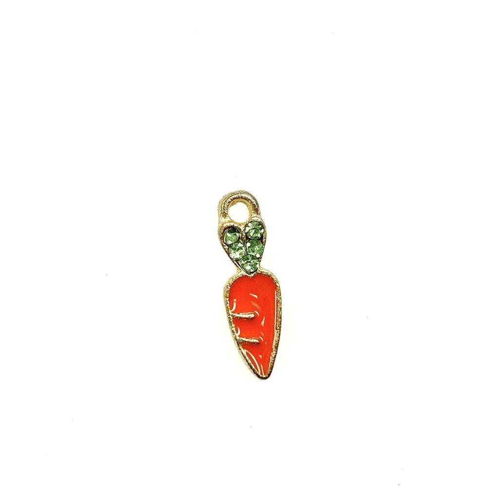 Bead World Tiny Carrot Enamel with Rhinestones -  6mm x 18mm 3pcs.