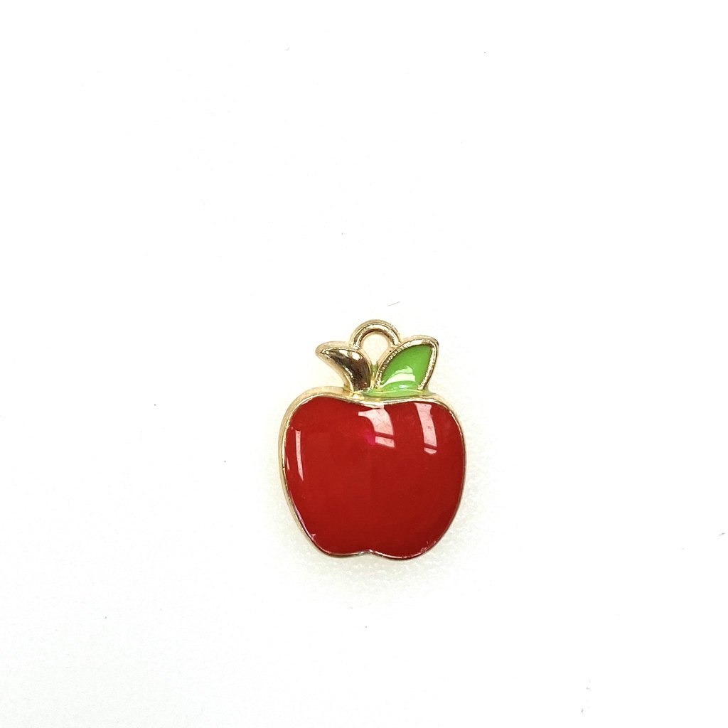 Bead World Apple Enamel -Red  12mm x 15mm 3pcs.