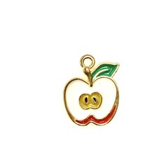 Bead World Apple With Core Enamel -Red/White  17mm x 20mm 3pcs.