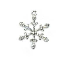 Bead World Snowflake White Crystal Charm 30mm x 30mm 1 pc.