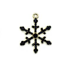Bead World Snowflake Black Crystal Charm 30mm x 30mm 1 pc.