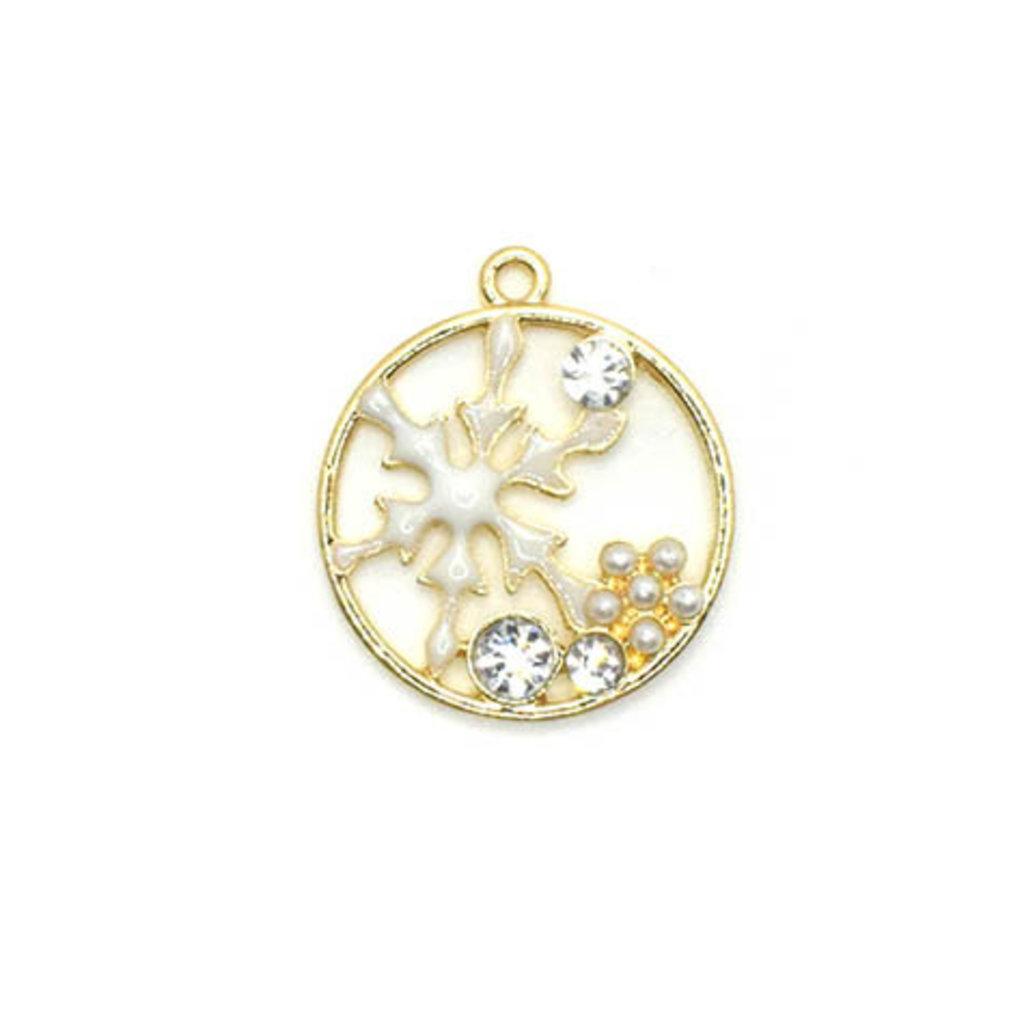 Bead World Snowflake Enamel Rhinestone Flower Round Charm 20mm x 20mm 2 pc.