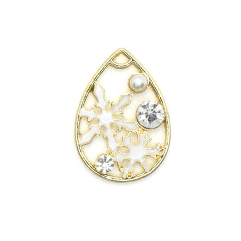 Bead World Snowflake Crystal and Pearl Gold Drop Charm 20mm x 25mm 1 pc.