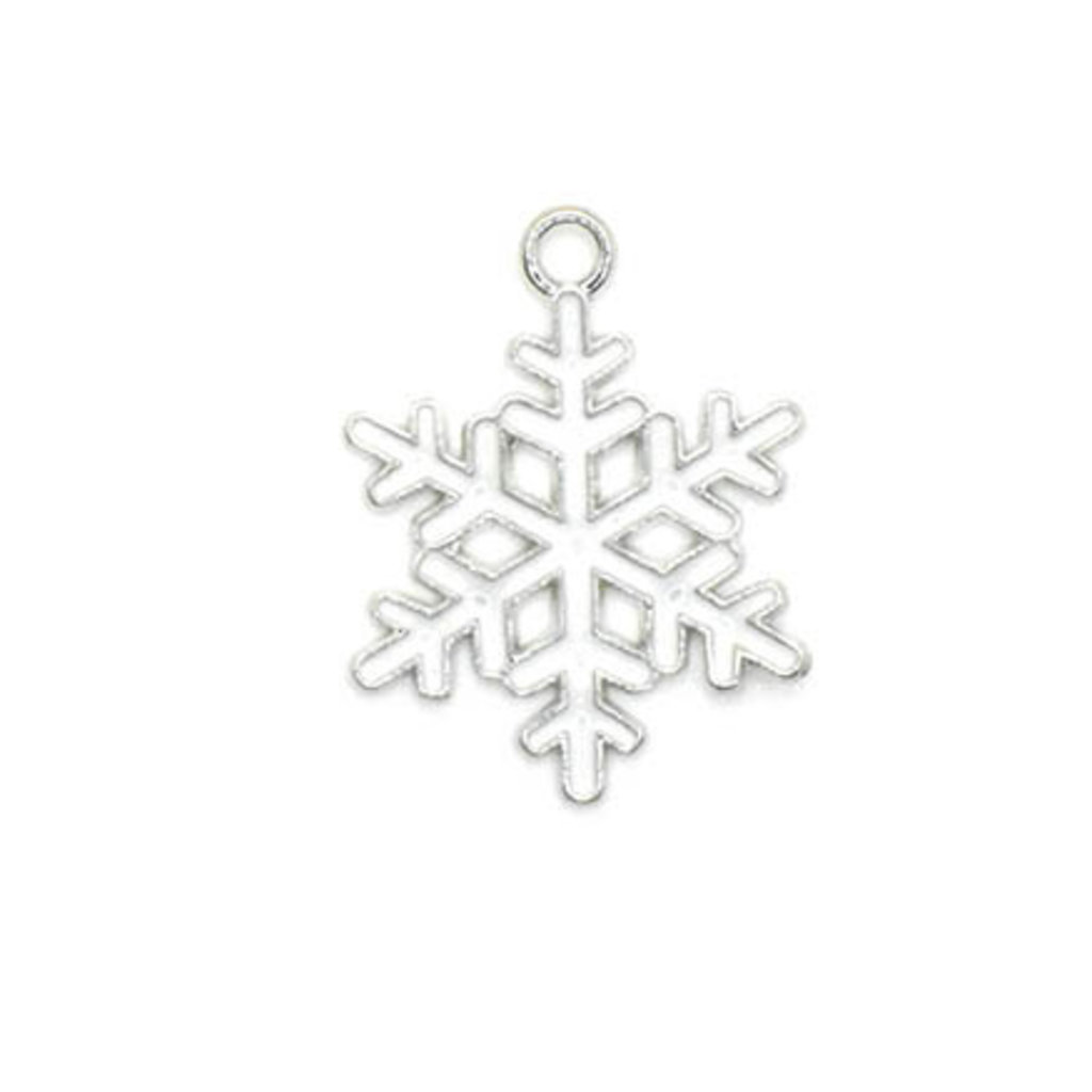 Bead World Snowflake White and Silver Small Charm 20mm x 20mm 3 pcs.