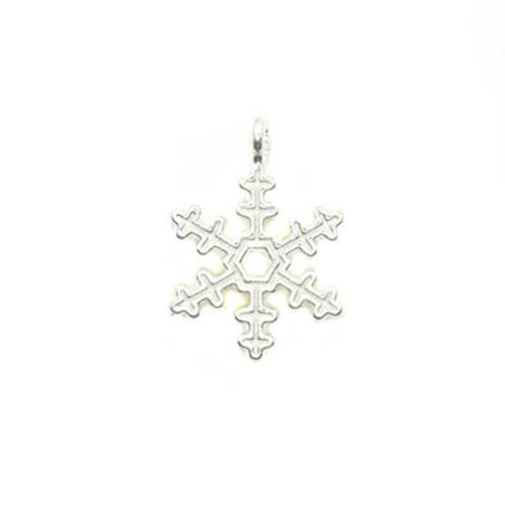 Bead World Snowflake White and Silver Small Charm 15mm x 15mm 3 pcs.