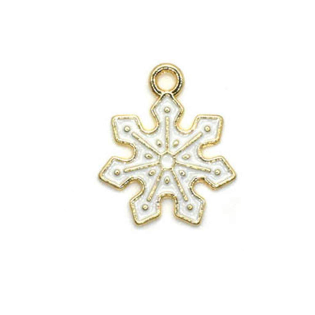 Bead World Snowflake White and Gold Small Charm 15mm x 15mm 3 pcs.