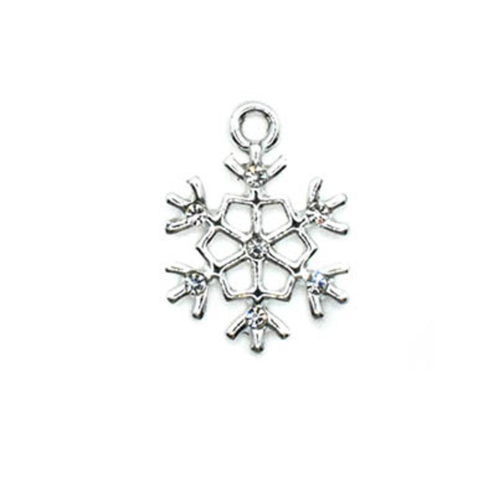 Bead World Snowflake Shiny Silver Small Charm 15mm x 15mm 3 pcs.