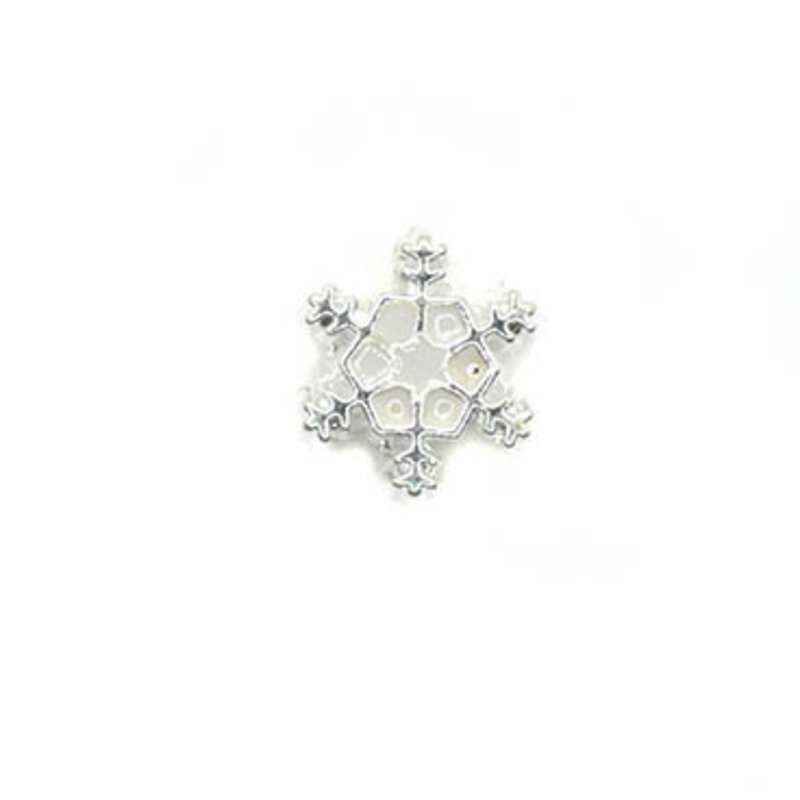 Bead World Snowlake White Shiny Silver Small Charm with hole 10mm x  10mm 3pcs.