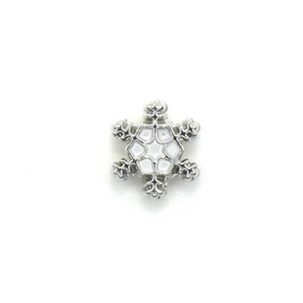Bead World Snowlake White Silver Small Charm with hole 10mm x  10mm 3pcs.