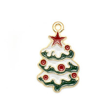Bead World Christmas Tree with Red Balls Ornaments Charm 15mm x 3mm 3pcs.