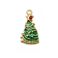 Bead World Christmas Tree with Red Star on top Charm 10mm x 25mm 3 pcs.
