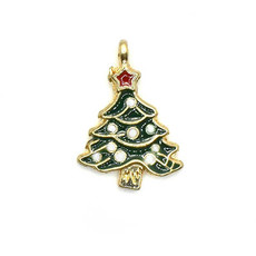 Bead World Christmas Tree with White Balls Ornaments and Red Star on Top Charm 17.5mm x 25mm 3 pcs.