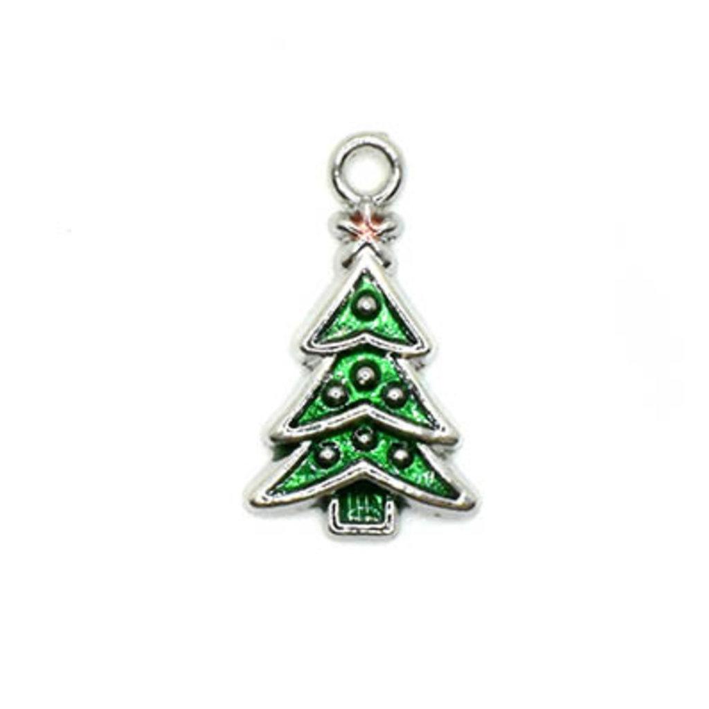Bead World Christmas Tree Silver and Green Charm 12.5mm x 22.5mm 3 pcs.