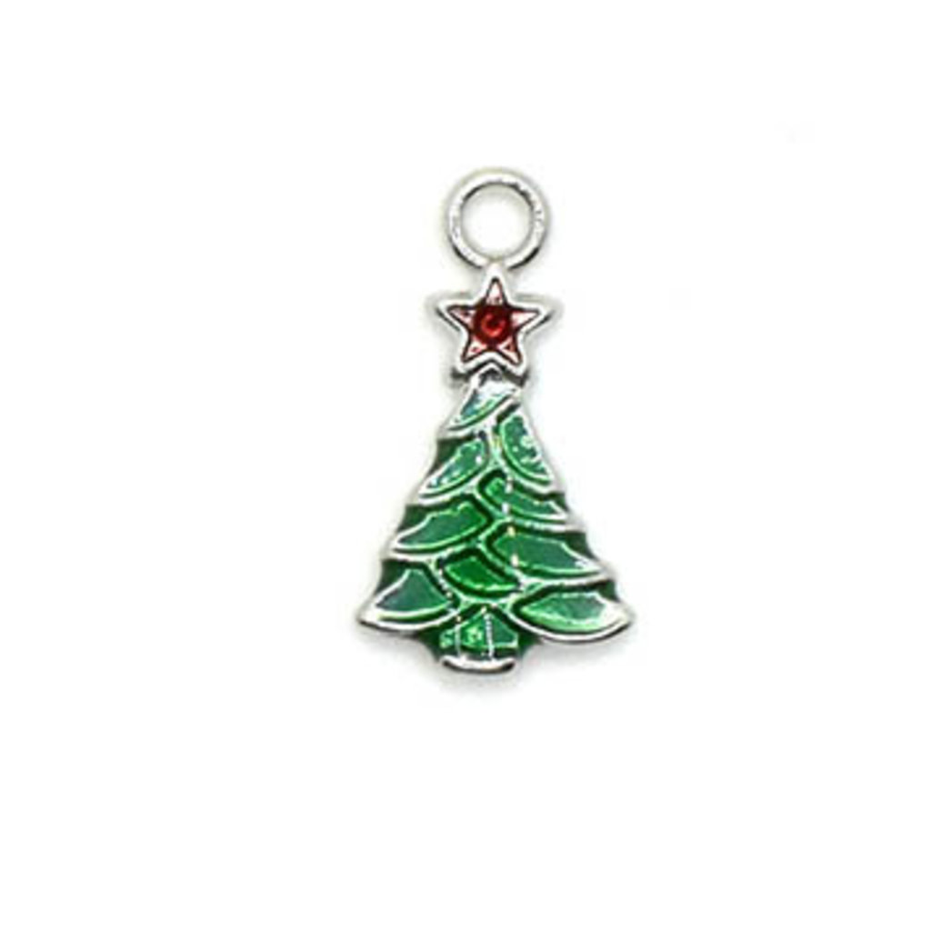 Bead World Christmas Tree Tiny Charm 10mm x 20mm 3 pcs.