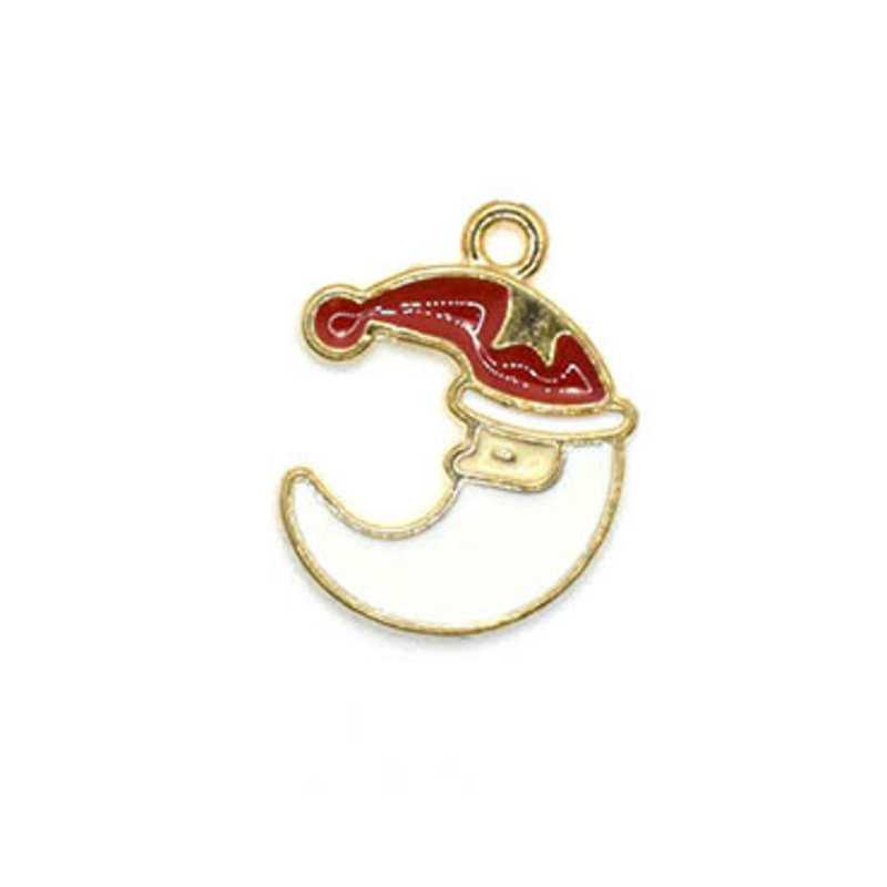 Bead World Santa Claus Crescent Shape Head Charm 15mm x 20mm 3 pcs.