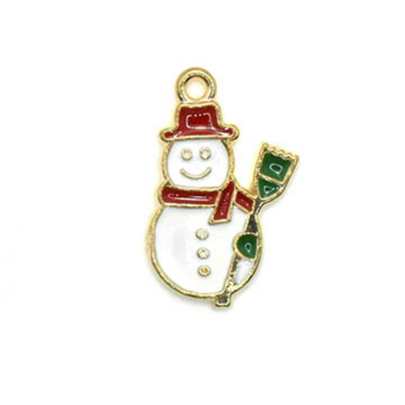 Bead World Snowman with a Broomstick Charm 15mm 20mm 3 pcs.