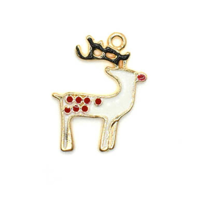 Bead World Reindeer White with Red Polka Dots Charm 17.5mm x 25mm 3 pcs.