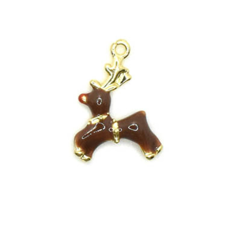 Bead World Reindeer with a Red Nose Tiny Charm 17.5mm x 20mm 3 pcs.