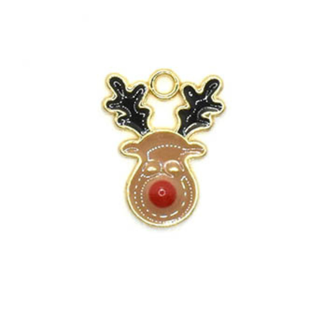 Bead World Reindeer with a Red Nose Head Charm 12.5mm x 17.5mm 3 pcs.