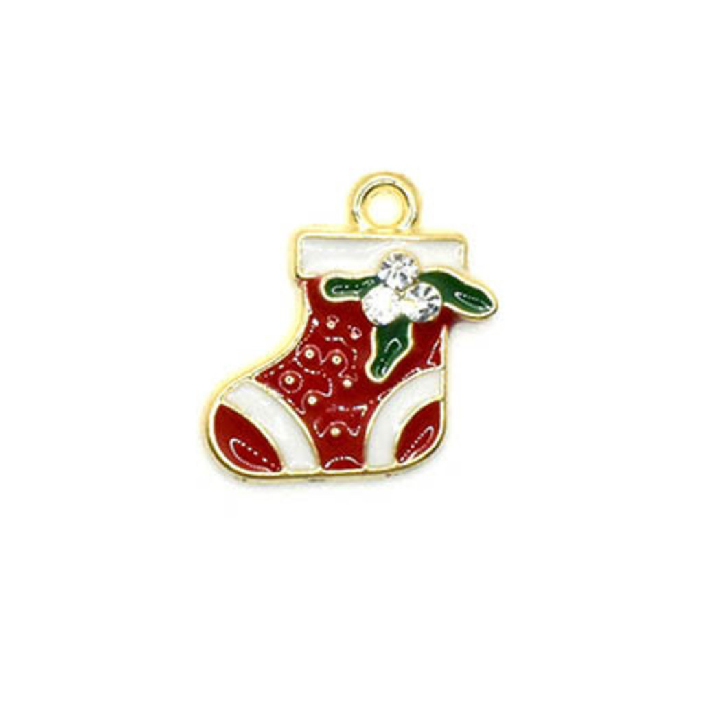 Bead World Christmas Stocking with Crystals Charm 15mm x 17.5mm 3 pcs.