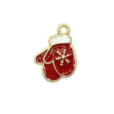 Bead World Christmas Red Mittens Charm 15mm x 20mm 3 pcs.