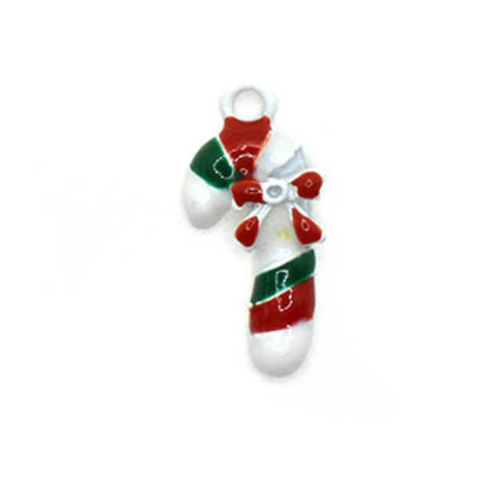 Bead World Candy Cane with Bow Charm 10mm x 22.5mm 3 pcs.