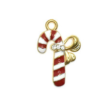 Bead World Candy Cane Bow Crystals Charm 12.5mm x 22.5mm 3 pcs.
