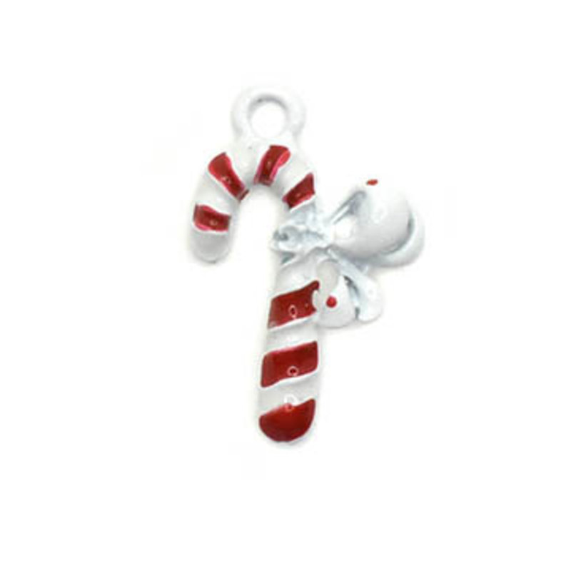 Bead World Candy Cane with Big Bow Charm 15mm x 20mm 3 pcs.