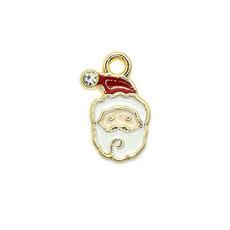 Bead World Santa Claus Head with Crystal Tiny Charm 10mm x 15mm 3 pcs.