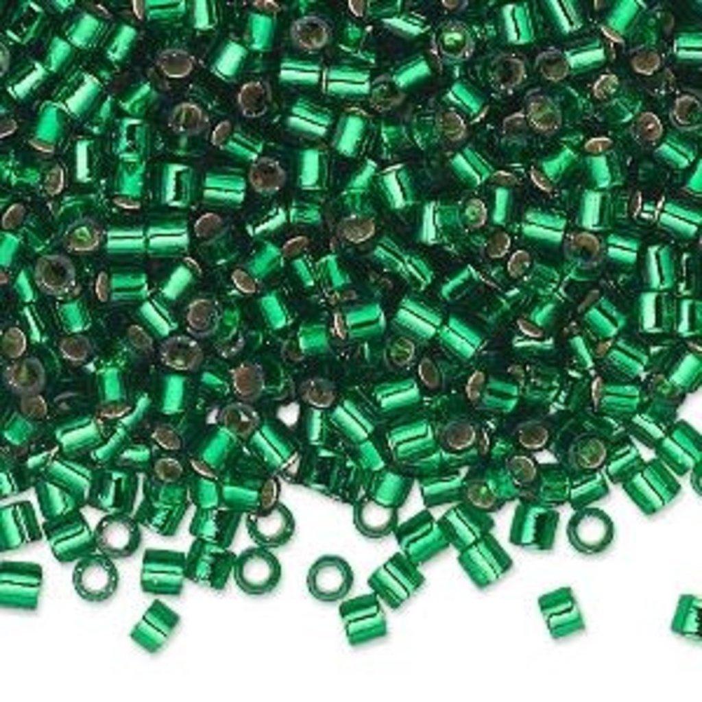 Miyuki Delica #8 Silver-Lined Green 9864 7.5 gram vial