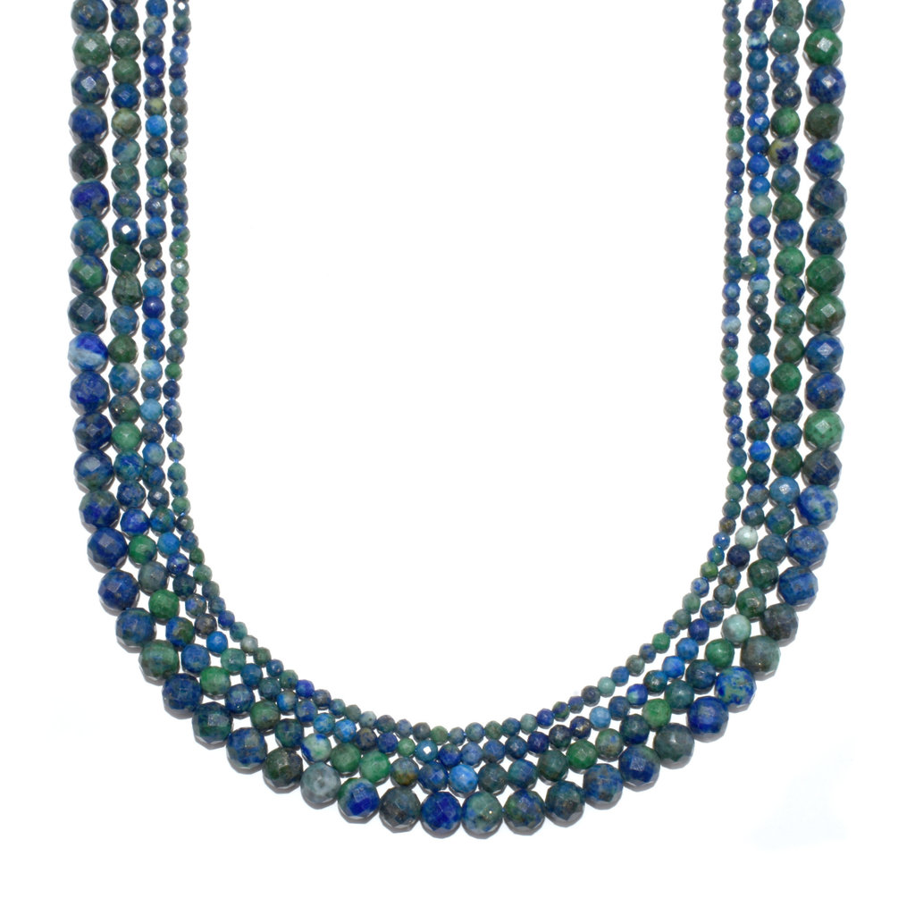 """Bead World Azurite Faceted 16"""" Strand"""