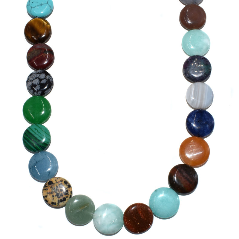 "Bead World Assorted Natural Stones - Coin Shaped  16mm  16"" Strand"