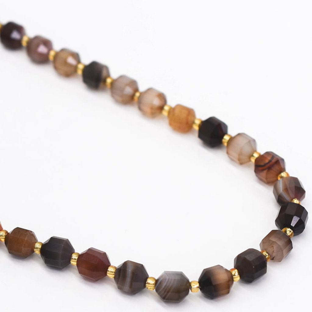 """Bead World Agate 7mm x8mm  16"""" Strand Faceted"""