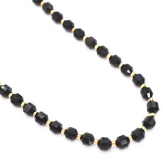 """Bead World Black Agate 7mm x8mm  16"""" Strand Faceted"""
