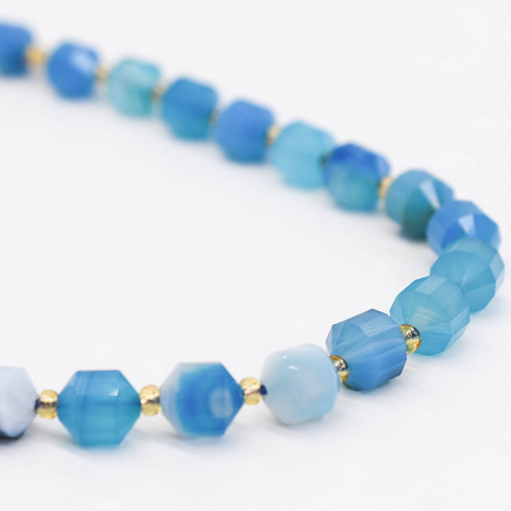 "Bead World Blue Agate 7mm x8mm  16"" Strand Faceted"
