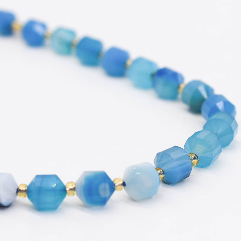 """Bead World Blue Agate 7mm x8mm  16"""" Strand Faceted"""