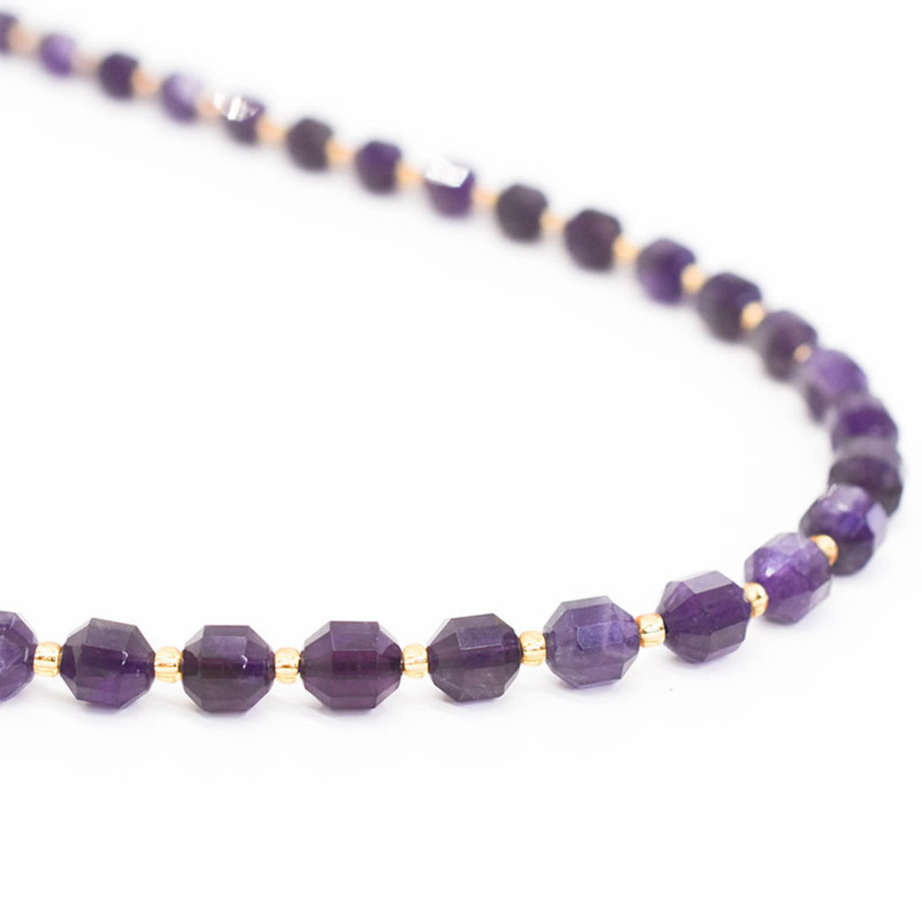 """Bead World Amethyst 7mm x8mm  16"""" Strand Faceted"""