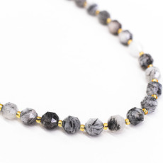 "Bead World Black Rutilated Quartz 7mm x8mm  16"" Strand Faceted"