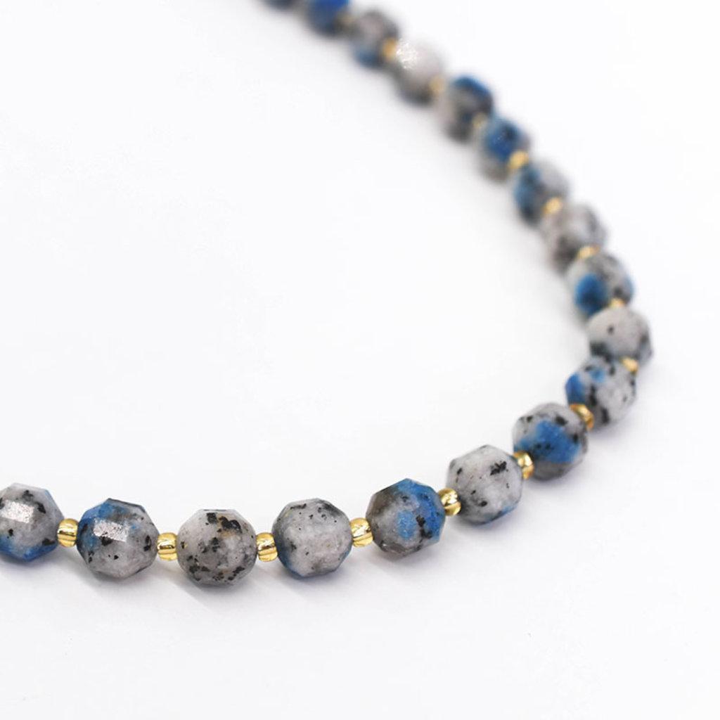 "Bead World Blue Aurite Jasper  7mm x8mm  16"" Strand Faceted"