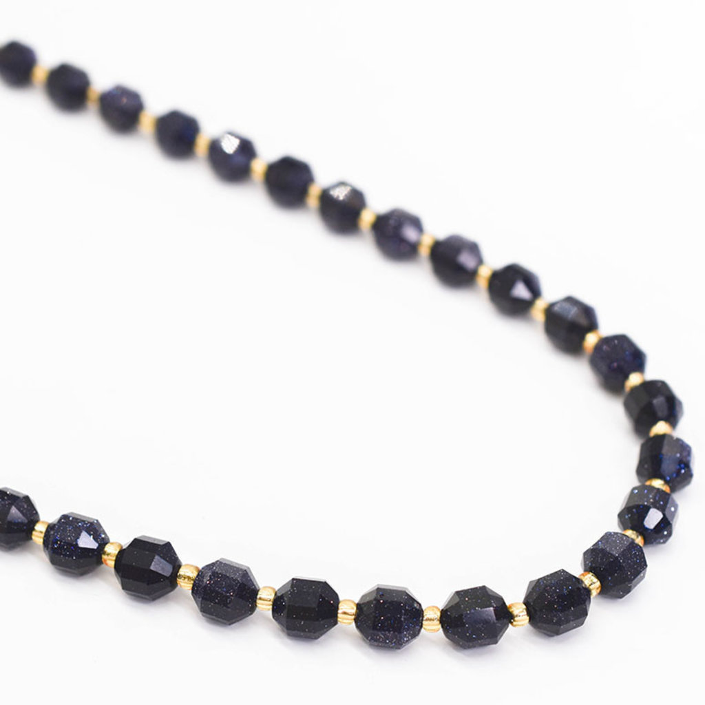 """Bead World Blue Sandstone  7mm x8mm  16"""" Strand Faceted"""
